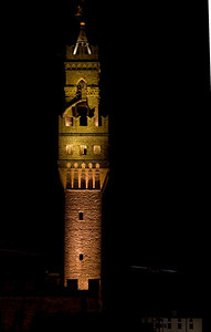Palazzo Vecchio tower at night from our balcony