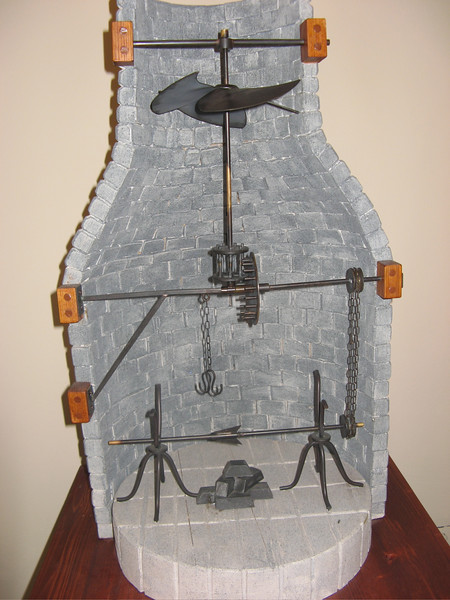 """Automatic pit roaster contraption<br /> <br /> Leonardo cont. -  Following the death of his patron Giuliano de' Medici in March 1516, he was offered the title of Premier Painter and Engineer and Architect of the King by Francis I in France. Although suffering from a paralysis of the right hand, Leonardo was still able to draw and teach. He produced studies for the Virgin Mary from """"The Virgin and Child with St. Anne"""", studies of cats, horses, dragons, St. George, anatomical studies, studies on the nature of water, drawings of the Deluge, and of various machines.<br /> Leonardo died on May 2, 1519 in Cloux, France. Legend has it that King Francis was at his side when he died, cradling Leonardo's head in his arms"""