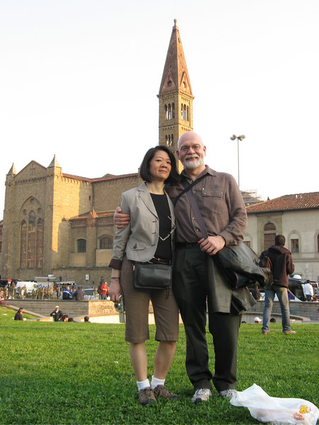 Angie and Ian with the Santa Maria Novella church in the background