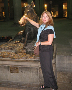 Il Porcellino this bronze statue has a shiny nose because people rub it to ensure a return to Florence