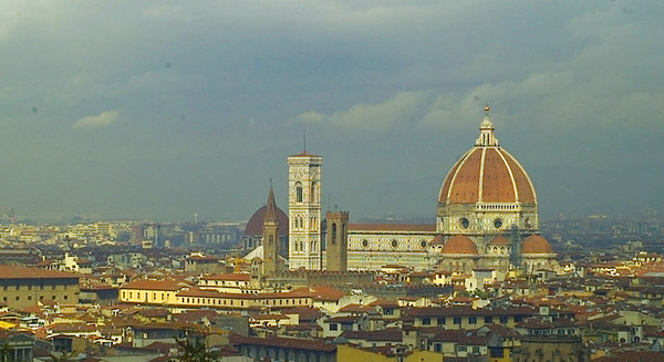 The Florence Duomo on a dull day from the hill at S. Miniato