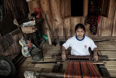 Weaving cloth in Luba village