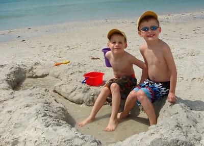 Alex & Brady digging a hole.