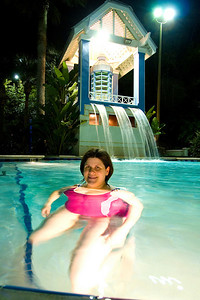 Darcie cooling off in one of the pools at Cypress Harbour