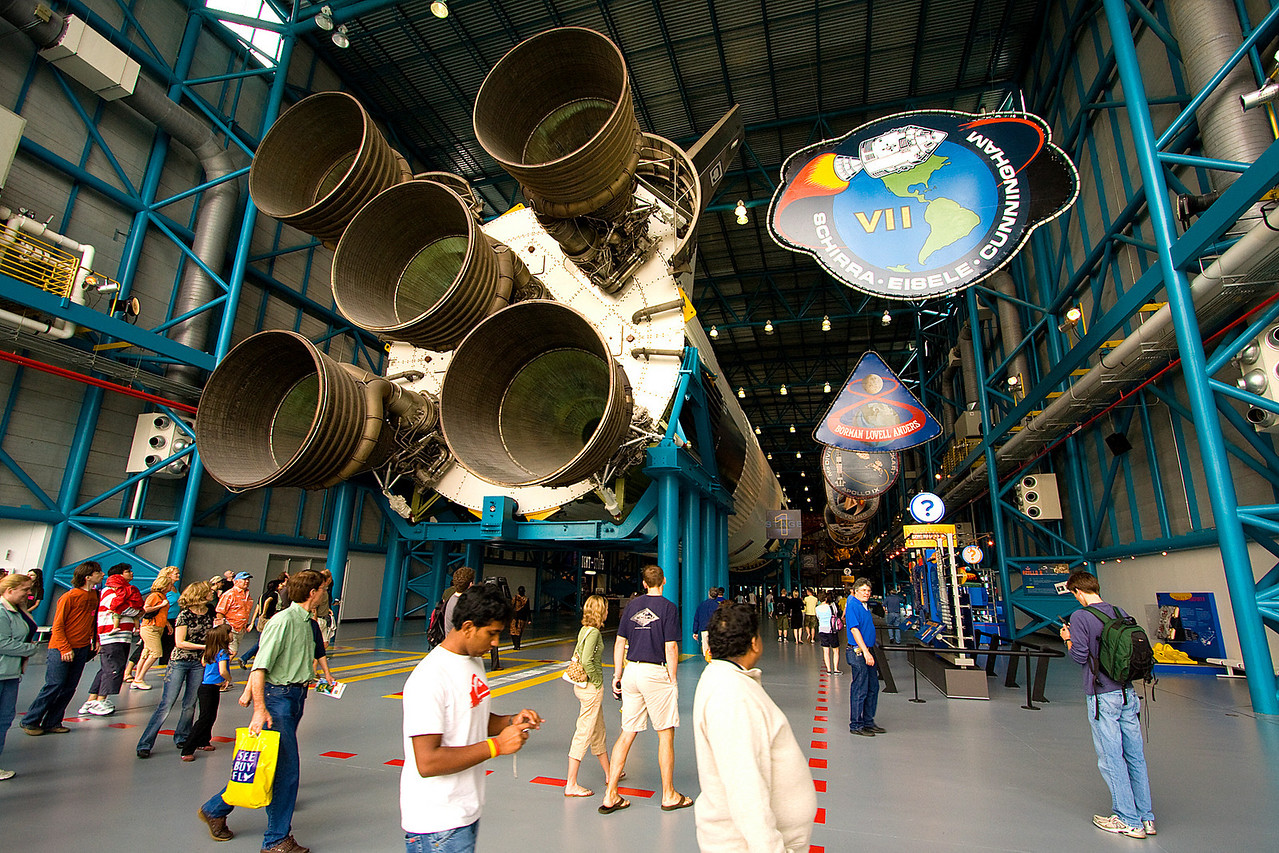 Huge Saturn V rocket at the Apollo/Saturn V Center