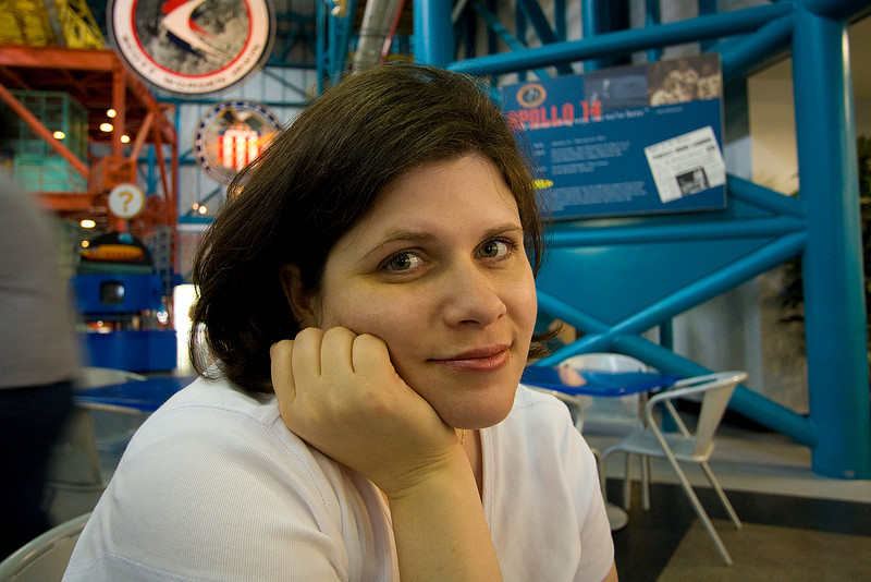 Darcie in the food place at Kennedy Space center