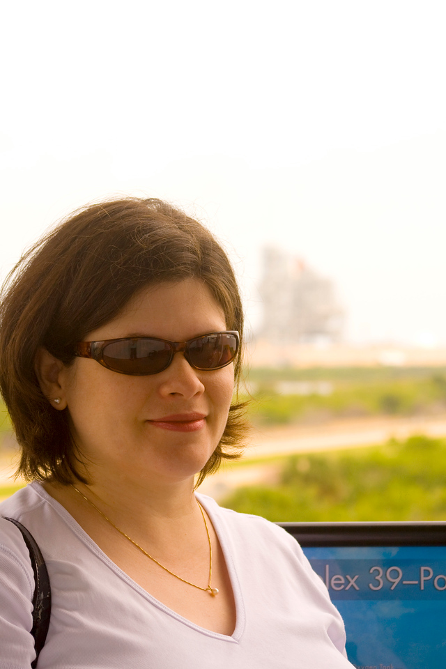 We visited the Kennedy Space Center (our 2nd time).  Here's Darcie on the LC 39 Observation Gantry with the space shuttle Atlantis in the background.