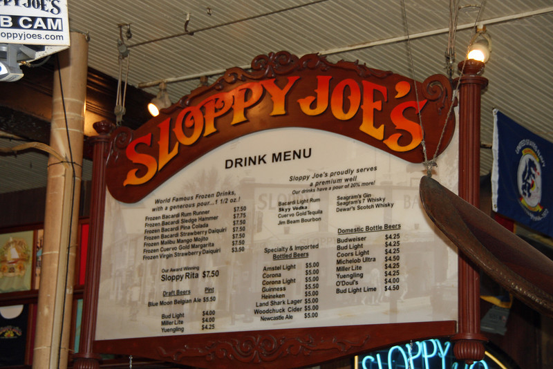 "<a href=""http://sloppyjoes.com"" target=""_blank""> <b>Sloppy Joe's Bar</a></b> has been located at the corner of Greene and Duval Streets since 1937.  The official beginning of Sloppy Joe's Bar, the famous and infamous Key West saloon, was December 5, 1933--the day Prohibition was repealed. The bar was destined to go through two name changes and a sudden change of location before it would become Sloppy Joe's, seen by millions of visitors to Florida's southernmost outpost.<br> <br> It opens at 9:00 a.m. As morning transforms into day, so does Sloppy Joe's. Live entertainment begins at noon and lunch continues with a menu offering quality food and satisfying large drinks."