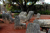 <b>Chairs</b> - In looking at these chairs and all other carvings, there is an absence of chisel marks. The only place where there are chisel marks are on some of the outer walls. These chairs weighed approximately 1,000 pounds each. They were moved from Florida City.