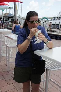 Barb sipping on a Piña Colada