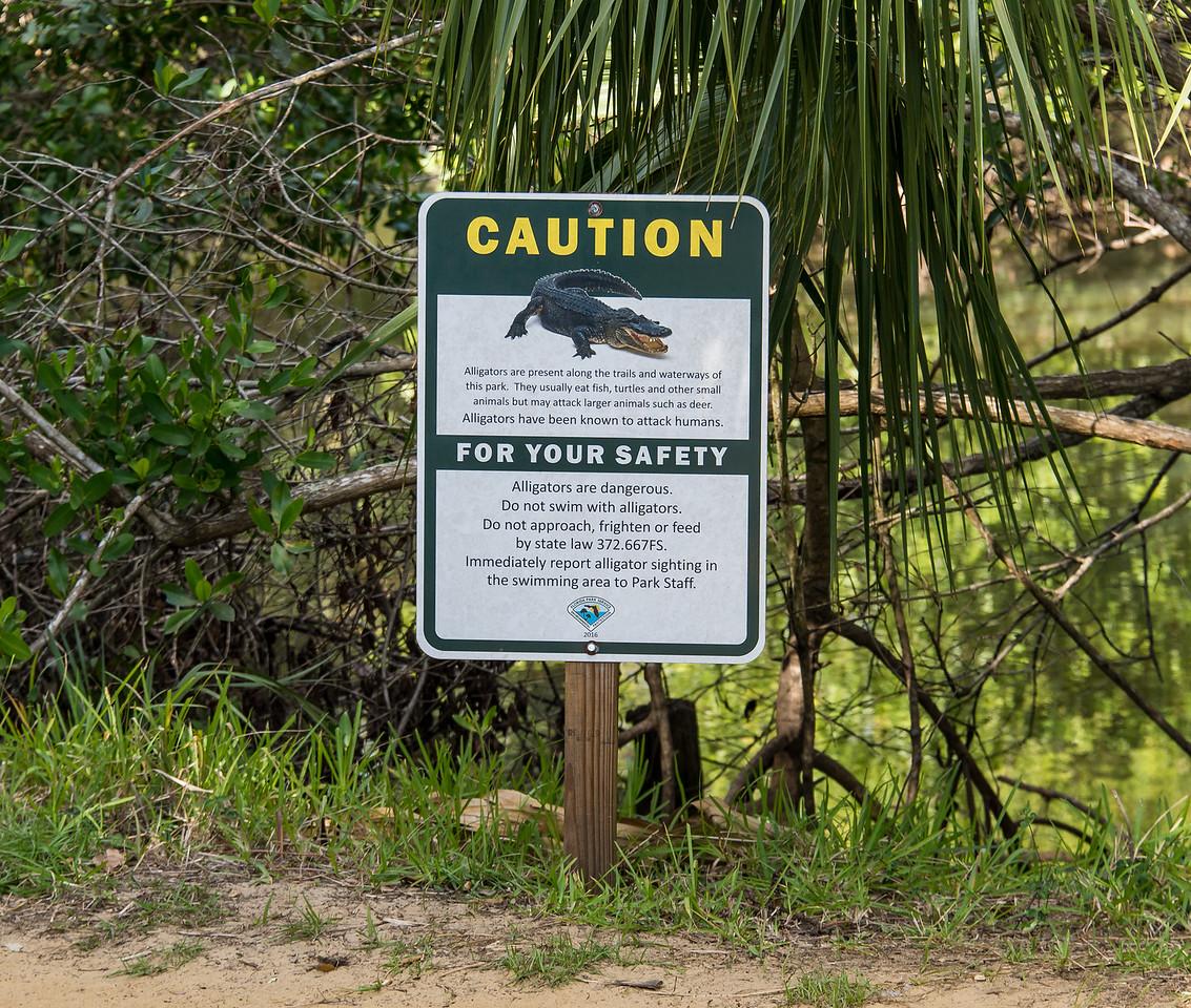 Warning sign at Koreshan State Historic Site, FL - January 2018