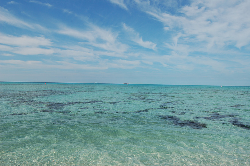 A personal favorite. Crystal-clear water with wispy clouds in the sky.