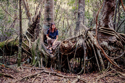 Rita resting on the roots of a fig tree while hiking in the Everglades National Park.