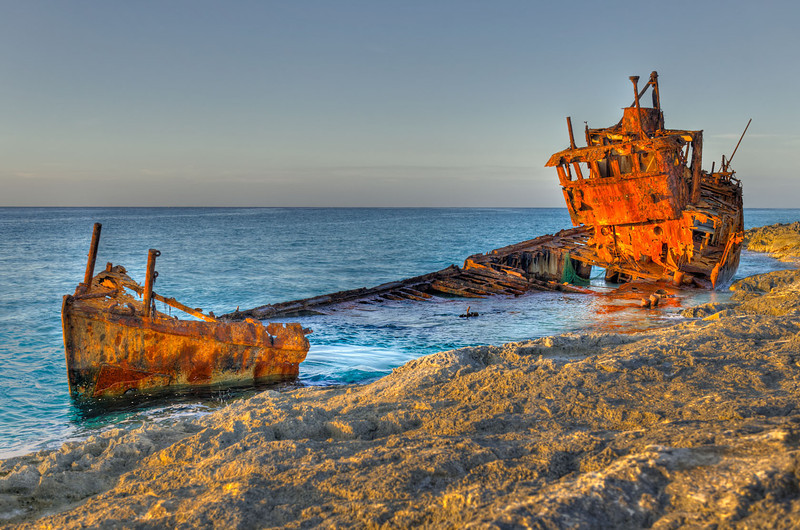 Ship wreck at Alis Town, Bimini, Bahamas