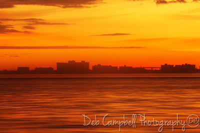 Sunrise over Ft. Myers Beach from the  Sanibel Causeway Sanibel, Florida
