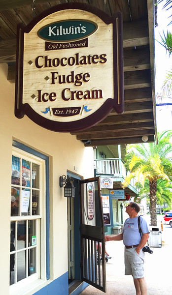 Not by accident, I'm sure, the first stop on the trolley tour was the commercial street in Old Town St. Augustine.  I sat, talking with a man also waiting, while the rest perused the area.  I did, however, participate in eating ice cream after lunch.  Walt is ready, huh.  April. 2016.