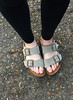 . . . and Maya with her new Birkenstocks.  Grandma was amazed that they are in fashion (maybe not the right word) again.  I figure I've been wearing them continuously since the early 1980s.  Obviously, my favorite comfort shoe, maybe Maya's, too.   April, 2016.