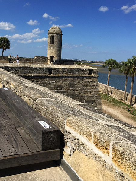 The Castillo de San Marcos is an early remnant of the city's history.  The stone building was started in 1672, 107 years after the founding of the town, and after two earlier wooden forts were burnt down. It was an active military base for 251 years until 1933. Very impressive!.  April, 2016.