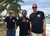 Chris (engine repairman), Carlos (talker), and Matt (captain) – my capable crew.  April, 2016.