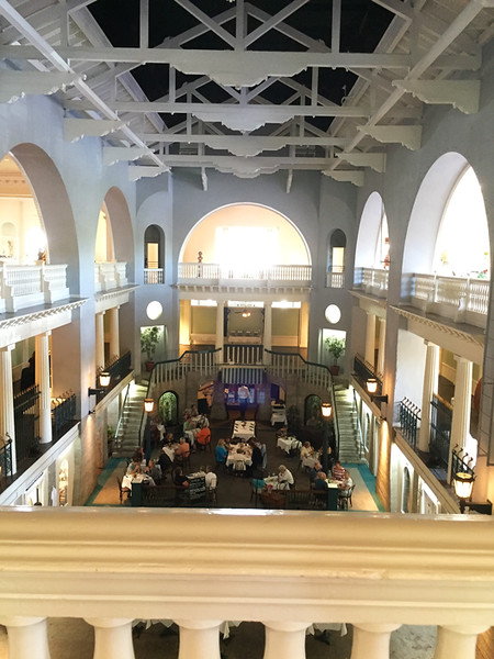 The Lightner Museum has an appropriate name.  It is full of light!  It began life as the Hotel Alcazar built by Henry M. Flagler as a resort for wealthy northerners to spend the winters and travel on his railroad. Today's museum houses antique furniture, glass, toys, and more on the lower three floors.  April, 2016.