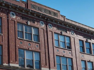 Detail: Kress inscribed on the building's cornice.