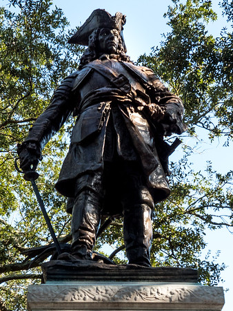 """The imposing 9-foot high statue of James Oglethorpe, who founded the colony of Georgia, stands in the city's Chippewa Square.  A website describes the statue thusly: """"The 9-foot bronze James Oglethorpe monument, dedicated in 1910, pays tribute to the founder of the Georgia Colony. Designed and created by one of American's foremost sculptors, Daniel Chester French, Oglethorpe presides over Chippewa Square, facing south so that he can """"keep a watchful eye on the Spanish.""""  French also designed the statue of Lincoln in the Lincoln Memorial in Washington, DC."""""""
