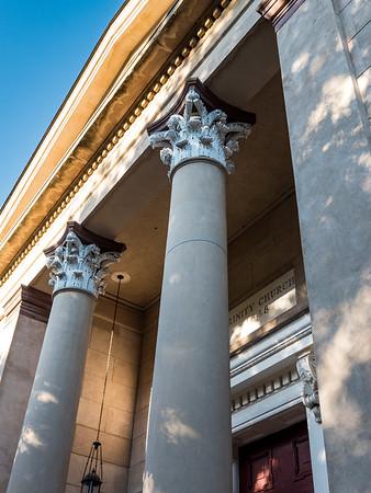 Columns and pediment of the Trinity Mehtodist Church in Savannah.