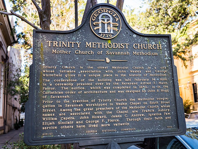 The Trinity is known as the Mother Church of Savannah Methodism., according to this sign.