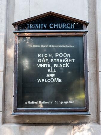 Bulletin board at the Trinity Methodist church in Savannah.