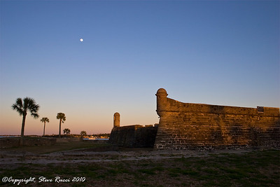 Moon rising over Castillo de San Marcos National Monument - St. Augustine, Florida