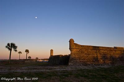 Moon rising over Castillo de San Marcos National Monument - St. Augustine, Florida