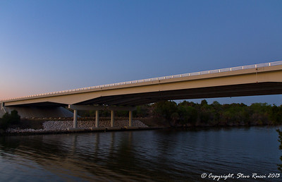 The Highway 19/98 overpass, going over the Cross Florida Barge Canal at Inglis, FL.