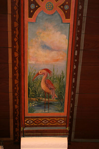 Detail of painted ceiling at Wakulla Springs Lodge