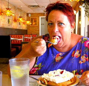 Vicki Skinner (aka Sarong Goddess) enjoying one of her Birthday Breakfast's - STRAWBERRY WAFFLES at M&D's Restaurant - Osprey, Florida