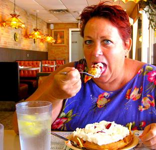 Vicki Skinner (aka Sarong Goddess) enjoying one of her Birthday Breakfast's - STRAWBERRY WAFFLES at M&D's Restaurant - Osprey, Florida