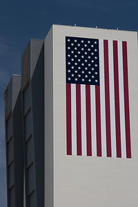 Close-up of the flag of the VAB -- Touring the Kennedy Space Center