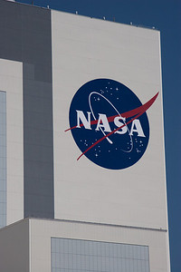 Close-up of the NASA meatball on the VAB -- Touring the Kennedy Space Center