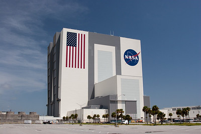 Vehicle Assembly Building (VAB) does not seem its 525 foot height, even this close to the building -- Touring the Kennedy Space Center