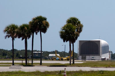 Just across from the VAB was this barge used for bringing the recovered External Tank back to the VAB -- Touring the Kennedy Space Center