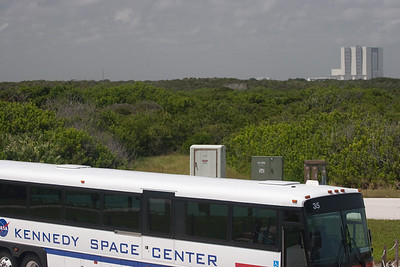 At our out-of-the-bus photo opportunity of the two shuttle launch pads, the VAB appears in the distance over our KSC bus. -- Touring the Kennedy Space Center