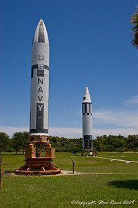 Polaris (foreground) and Jupiter missiles - Air and Space Missile Museum, Canaveral Air Force Station