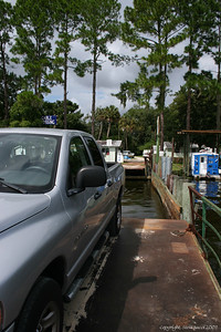 Riding on the Ft. Gates Ferry.  The truck barely fit with another car in front.
