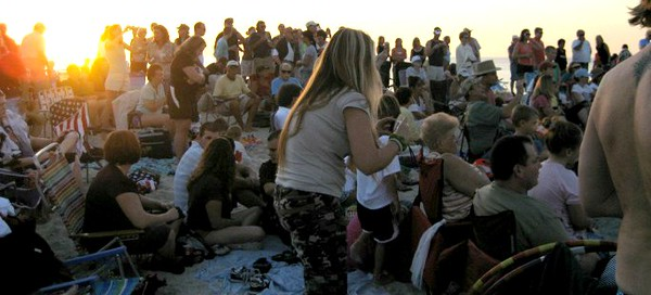 The Crowds!!!  This picture is from the Nokomis/Casey Key Sunset Drumming Circle from  http://NokomisBeachDrumCircle.com site.  Wed. & Sat. about an hour before Sunset.   I MISS THIS!!!