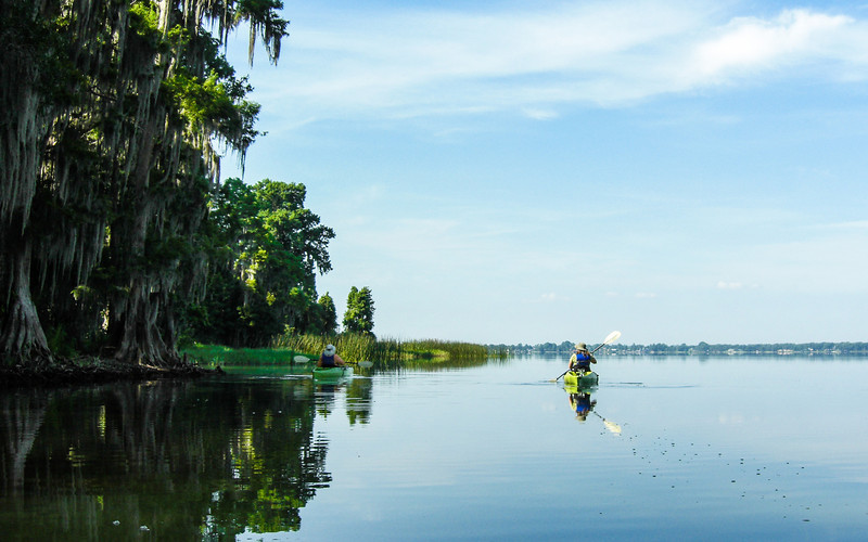 Kayaking in the Chain of Lakes, Florida.