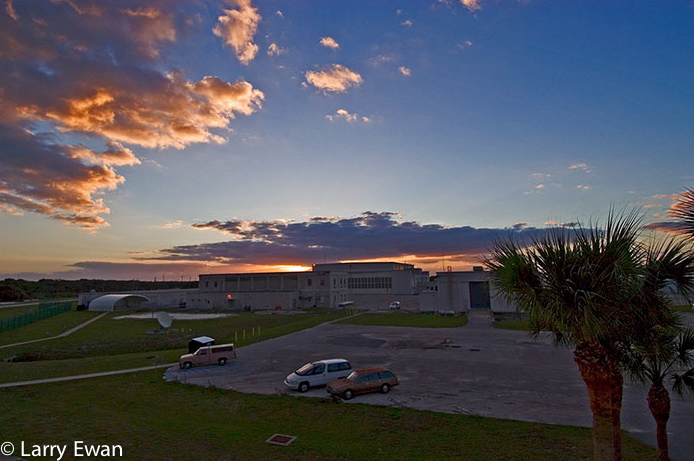 Sunrise over Hangar Y, Cape Canaveral Air Station.