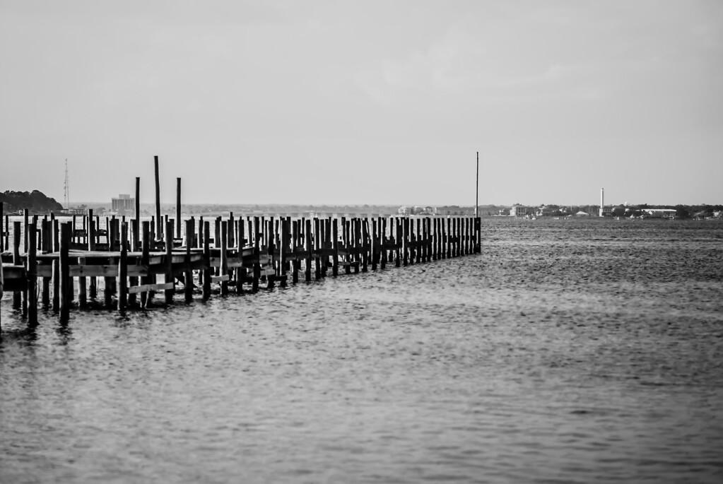 classic black and white pier scene