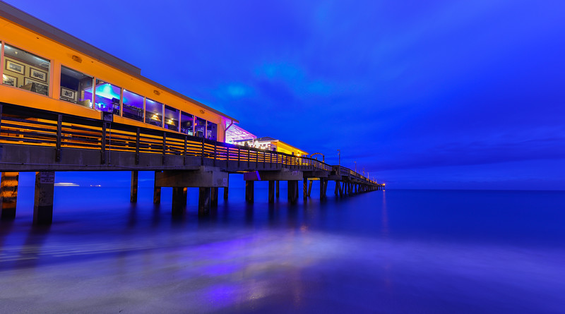 In and around the Dania Fishing Pier at twilight and sunrise, Dania Florida