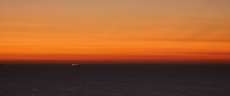 Final sunrise of 2011<br /> Cruise ship inbound to Port of Palm Beach at dawn, Dec. 31, 2011