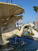 Water flows over horses in a Palm Beach Fountain - Florida