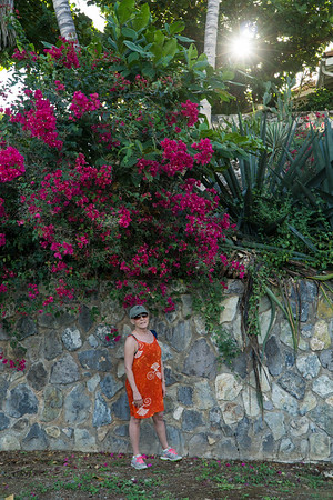 Stacey and bougainvillea.